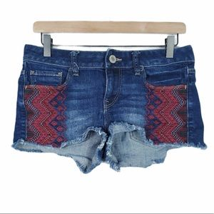 EXPRESS embroidered frayed distressed jean short 4